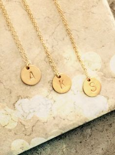 A personal favorite from my Etsy shop https://www.etsy.com/listing/239711270/gold-initial-necklace-personalized