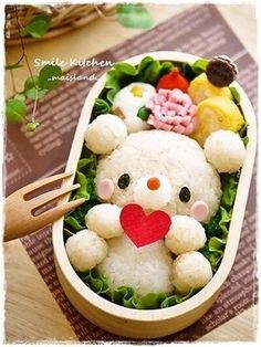 Teddy bear bento, so cute Bento Kawaii, Bento Recipes, Baby Food Recipes, Fruits Decoration, Food Art For Kids, Food Kids, Bento Kids, Japanese Food Art, Japanese Lunch Box