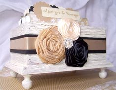 RECIPE BOX, Dividers, Recipe Cards, Ivory Shabby Chic Box, Neutral, Champagne, Tan, Black, Bridal Shower, Custom Colors by peachykeenday on Etsy https://www.etsy.com/listing/169574331/recipe-box-dividers-recipe-cards-ivory
