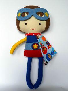 Puppen - Superhero boy doll, Stoffpuppe superheld - ein Designerstück von LaLobaStudio bei DaWanda
