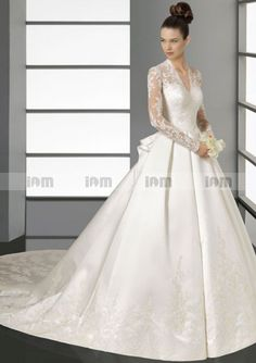 Brilliant Stretch Ball Gown V-neck Lace Full Sleeve Embroidery Satin Wedding Dresses