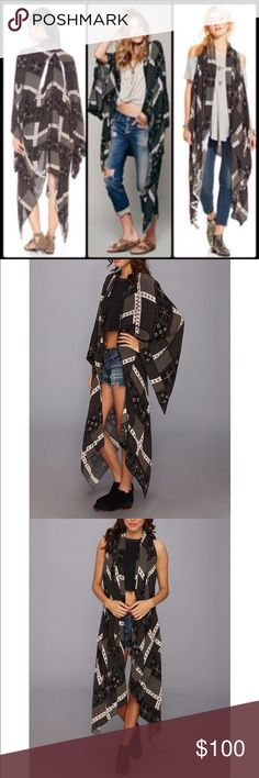 Free People Twilight Scarf Duster A boho-chic accent, this silken duster boasts a patchwork of scarf prints and flowing sleeves. Cutouts at the back make dashing accents that double as armholes for a sleeveless style. Perfect condition, worn once! Free People Sweaters Shrugs & Ponchos