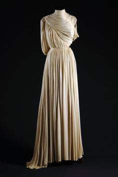 "Madame Alix Grès, France, 1965  ""Grecian"" evening dress (front detail), off-white silk jersey"