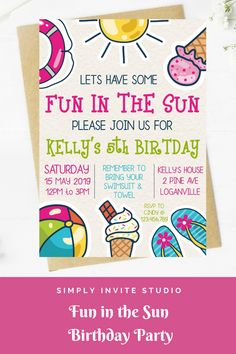 This Fun in the Sun Birthday Invite is perfect for a little girls' birthday party. This easy to edit birthday party invitation will be a great addition to your little one's Fun in the Sun Birthday Party Theme. Birthday Template, Birthday Invitation Templates, Diy Invitations, Invites, Pool Party Birthday Invitations, Birthday Party Themes, Pool Party Themes, 9th Birthday, Birthdays