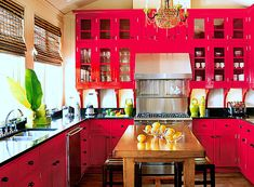 Hot pink kitchen cabinets, love it! My hubby would hate me! Hot Pink Kitchen, Red Kitchen Cabinets, Kitchen Inspirations, Kitchen Design Color, Pink Cabinets, Kitchen Colors, Interior Design Kitchen, Pink Kitchen, Pink Kitchen Cabinets
