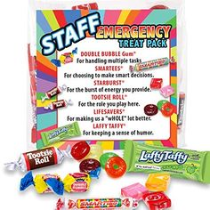 Staff Emergency Treat Pack (sets of - Employee Survival Kits - Goody Bags Appreciation Gifts Employee Appreciation Gifts, Volunteer Appreciation, Employee Gifts, Teacher Appreciation Week, Volunteer Gifts, Avocado Smoothie, Teacher Treats, Teacher Gifts, Teacher Poems