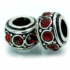 Amazon.com: 2 Two Birthstone January Garnet Red Rhinestone spacer Bead Pandora Troll Chamilia Biagi Bead Compatible: Jewelry