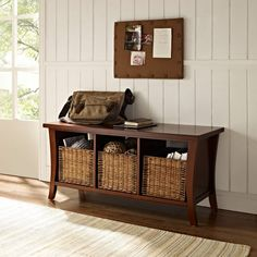 Crosley Wallis Entryway Storage Bench - Mahogany - Indoor Benches at Hayneedle