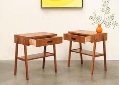 1960s Danish Modern TEAK Nightstand Tables Eames Mid Century Eames Era