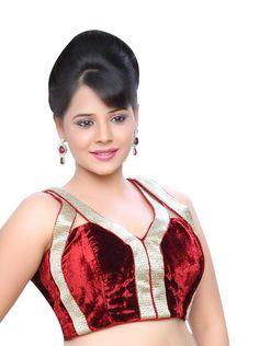 Red Sleeveless Ready-Made Saree Velvet Blouse Choli X-123 | Saris and Things