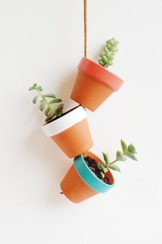 Desert Colors Tiny Hand Painted Terracotta Planter. Hanging 2 Mini Clay Pots. Terra Cotta Plant Home Decor. Featured on Apartment Therapy. via Etsy