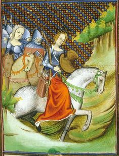Illustration from a manuscript of Des Cleres et Nobles Femmes (Boccaccio) made in central France in the first quarter of the century (British Library Royal 20 C V) Medieval Horse, Medieval Art, Illustrations, Illustration Art, Renaissance Image, Women In Combat, Empire Romain, Female Armor, Classical Antiquity