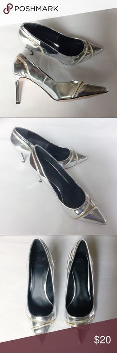 Zippered Pointy Toe Silver Pump Silver pointy toe pump with zipper detail. Worn once for a few hours. Please note small scuff mark on top of toe bed in 6th photo. Hard to spot due to reflection. Labeled UK size 9, which converts to US size 11.  No box but will be wrapped and shipped with care. ASOS Shoes Heels