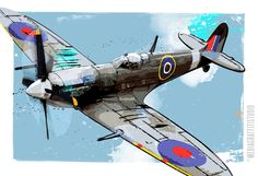 Spitfire WWII Vintage Military Airplane - Poster size airplane art illustration print on canvas - size 18x24. $100.00, via Etsy.