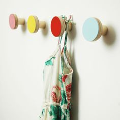 Image of HOOKS plain colours wooden wall hangers