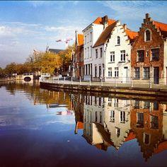 Grachten van Brugge #reflection #water #brugge #sky - @marcel_tettero- #webstagram