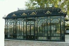 French victorian conservatory – - Cocos Collection: Antique inspired cage can add elegance to a utilitarian - Outdoor Gazebos, Patio Gazebo, Outdoor Structures, Victorian Conservatory, Victorian Greenhouses, Conservatory Design, Greenhouse Plans, Cheap Greenhouse, Greenhouse Pictures