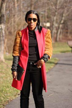 Wool Leather & Fur Coat