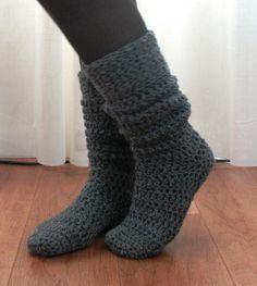 Knee High Boot Socks « The Yarn Box Crochet Boot Socks, Crochet Socks Pattern, Crochet Slipper Boots, Wool Socks, Knitting Socks, Crotchet Socks, Free Crochet Slipper Patterns, Crochet Patterns Free Easy Quick, Diy Crochet Slippers