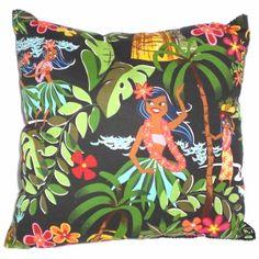 Retro Hawaiian Pillow  Tiki Leis Luaus and Aloha  Alexander Henry Fabric. $14,00, via Etsy.