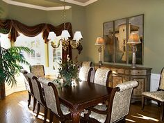 Green Dining Room with Wood/Upholstered Seating