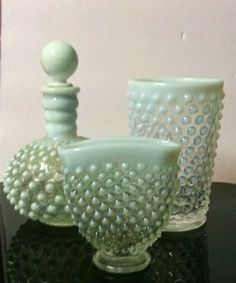 Lot of Anchor Hocking Glass Opalescent Moonstone Hobnail Vase Tumbler Perfume #AnchorHocking