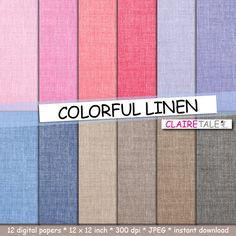 """Linen digital paper: """"COLORFUL LINEN"""" with linen / burlap background in pink, red, purple, lavender, blue, beige, neutral and black by clairetale. Explore more products on http://clairetale.etsy.com"""
