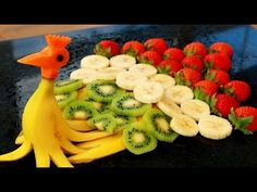 Art In Banana Peacock | Banana Art | Fruit Carving | Party Garnishing | ...