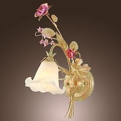 40W Nature Inspired Wall Light with Glass Floral Shade and Metal Branch Arm E14/E12 – USD $ 69.99