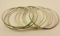 Lot of 8 Green Sparkly and Etched Bangle Bracelets for Repurpose by TheSparklingGallery on Etsy