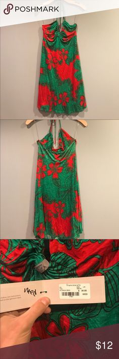 Hawaiian hibiscus flower halter dress Francesca Green and red hibiscus flower Hawaiian halter neck dress. Francesca's Collections Dresses Midi