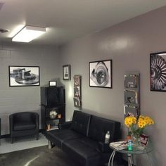 Photo 4 of 7 photos: Relax and enjoy watching TV and complimentary beverages & WIFI. - Inline X Automotive - Hopkins, MN - Yelp Waiting Room Design, Waiting Area, Automotive Shops, Automotive Decor, Interior Walls, Interior Design, Office Waiting Rooms, Old License Plates, Mechanic Shop
