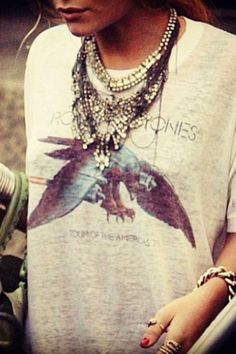 How to class up your vintage t-shirts, layer on your statement necklaces
