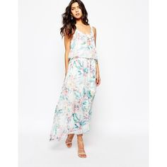 BOSS Orange Aglamy Maxi Dress in Watercolour Floral (£210) ❤ liked on Polyvore featuring dresses, multi, floral print dress, layered dress, white maxi dress, maxi dresses and tall dresses
