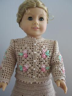 "Hand Crochet Vanilla Jacket and Skirt - American Girl Doll -18"""