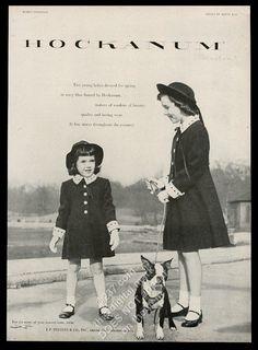 1952 Boston Terrier and 2 Girls Photo Hockanum Flannel Dress Vintage Print Ad