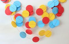 Circus Birthday Garland Red Yellow & Blue by MailboxHappiness Curious George Party, Curious George Birthday, Circus Birthday, 1st Birthday Parties, 2nd Birthday, Circus Party Decorations, Birthday Decorations, Reception Decorations, Birthday Garland