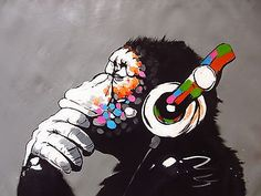 CANVAS-Banksy-Street-Art-Print-DJ-MONKEY-chimp-PAINTING-70cm