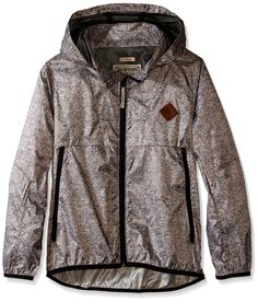 BURTON Boy's Abram Windbreaker Jacket, Small, Sweater Nepp. Zippered Hand warmer Pockets. 100% Polyester with DRYRIDE DWR Coating [600MM]. Storm Collar with Stowaway Hood. Elastic Binding at Hem and Cuffs. Venting Above Hand warmer Pockets and at Back Yoke.