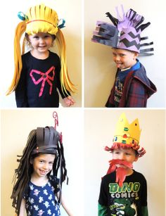 Arts And Crafts Beads Product Crazy Hat Day, Crazy Hats, Old Lady Costume, Homecoming Spirit Week, Mad Hatter Costumes, Silly Hats, Book Week Costume, Hat Crafts, Ecole Art