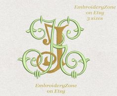Double antique monograms from old books J & K. от EmbroideryZone
