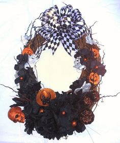 24 X 18 Oval Halloween Themed Front Door by FantasyFloralsbyKay Halloween Season, Halloween Themes, Orange Design, Black Flowers, Ribbon Bows, Grapevine Wreath, Skulls, Florals, Wreaths
