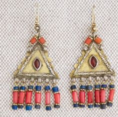 Turkmenistan. Silver gold gilded earrings  earrings |  Glass, lapis lazuli, red coral | ca 35 years old