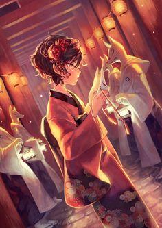 1girl absurdres bangs bobo_(uccello) brown_hair dutch_angle eyebrows floral_print flower fox fox_mask from_side geta hair_flower hair_ornament hakama highres holding_mask hood hood_down japanese_clothes kannushi kanzashi kariginu kikumon kimono kitsune lamp lantern light_particles lipstick looking_at_viewer looking_to_the_side makeup mask mask_removed mole mole_under_eye multiple_torii original outdoors paper_lantern parted_lips pavement print_kimono profile red_lips red_lipstick short_hair…