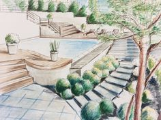 Croquis Architecture, Interior Architecture, Garden Design Ideas On A Budget, Drawing Course, Character Illustration, Animation, Concept, Patio, How To Plan