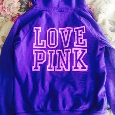 LOVE PINK PURPLE HOODIE Cute hoodie runs big even though it's a medium. Good condition with the exception of some discoloration seen in last photo. Otherwise very comfy. NO TRADES OFFERS WELCOME PINK Victoria's Secret Sweaters