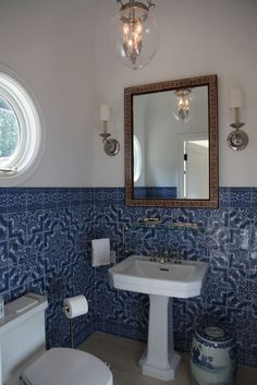 Love The Blue U0026 White Tile As Wainscot...use As A Backsplash In