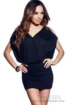 Simple Solid Black V-Neck Open-Shoulder Dress