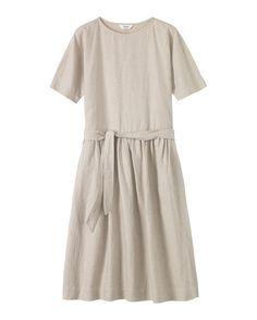 Women's Linen/Cotton Gathered Waist Dress