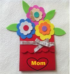 Surprise Mom with a handmade card for Mother's Day. Use colorful foam paper to make this beautiful flower card. Mothers Day Cards Craft, Diy Mothers Day Gifts, Kids Cards, Foam Crafts, Diy Crafts, Mothers Day May, Festive Crafts, Paper Ribbon, I Love Mom
